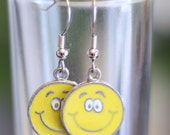 Yellow Smiley Face Enamel Charm Earrings - that perfect smiley face for when you just feel happy and want to show it on your ears - SALE