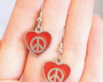 Charm Earrings: Red Heart Peace Sign Earrings - Valentines Jewelry - Hippie Earrings - Enamel Charm Earrings