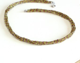 Gold, Purple and Green Five Layer Twisted Seed Bead Choker Necklace - Mardi Gras