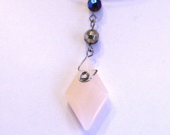 Glass Bead Wire Wrapped Pendant - pink and blue