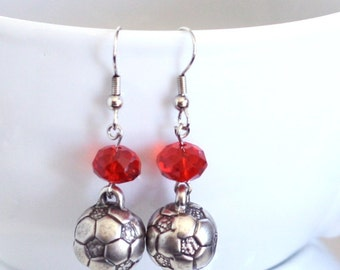 Silver Soccer Ball Charm Earrings with Red Crystal Bead - 925 sterling silver - school sports, soccer player, soccer star, Go Big Red