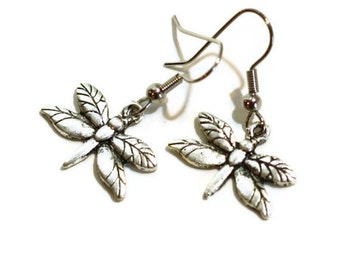 Dragonfly charm earrings - silver - kids earrings - girls tweens teens jewelry