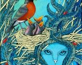 Birdsnest, motherbird and Siamese cat
