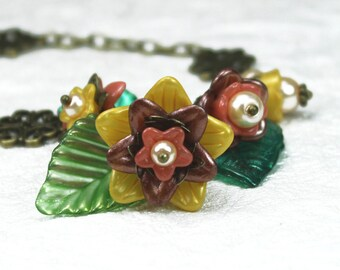 Flower Statement Necklace, Vintage Style, Chunky, Hand Dyed Lucite, Antiqued Brass