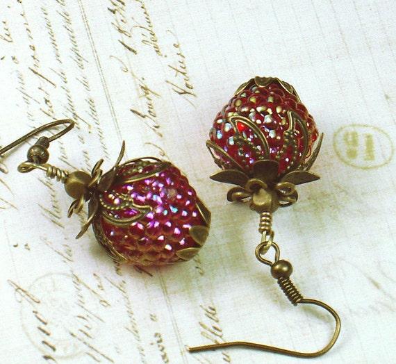 Watsonville, Vintage Inspired Strawberry Earrings, Vintage Lucite Beads & Brass