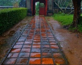 Travel Photography, Follow The Red Brick Road, Path, Home Decor, Asian Wall Art, Vietnam, Rainy Day, Red, 8x10