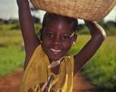 African Photography, Smile, Happiness, Be Joyful, Girl, Childhood, Tribal, Uganda, Africa, Basket, Color Fine Art Photography, 8x10