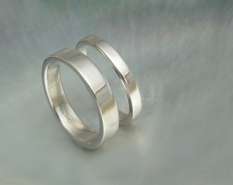 pipe cut platinum wedding band set, hand forged -- simple platinum wedding rings