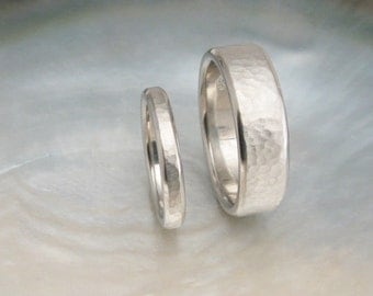 comfort fit platinum wedding band set -- 7mm and 3mm hammered platinum rings with beveled edges