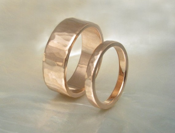14k Rose Gold Rings / Hammered Wedding Band Set By