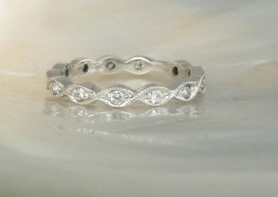 platinum and diamond eternity band with milgrain borders