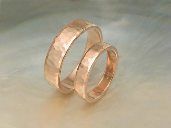 hammered rose gold wedding band set -- 6mm  and 4mm wedding rings -- waterfall