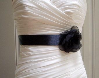 Black Bridal Sash Belt, Flower Sash, Black Belts, Bridal Accessories, Handmade Fabric Flower Sash Josie
