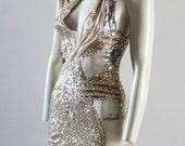 Party Dress Gold Sequin Mini Dress Unique One-Off Designer - Chrisst Unique Fashion - Apocalypse Dress  SPECIAL ETSY PRICE