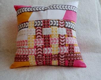 13 x 13 Pillow Pink Orange Grey and White Basketweave