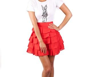 Wonderland layered 'Alice Ruffle Skirt' - Red