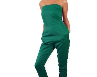 Wonderland strapless long legged 'Tweedle D Jumpsuit' *Limited Edition - Jade