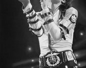 Michael Jackson BAD tour - 11x14 Stretched canvas print - Ready to Hang - charcoal drawing, black and whte, live, belts, buckles, singing
