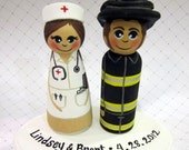 Wedding Cake Topper / Custom Painted Wood Peg Dolls with Plaque/ Fireman / Nurse