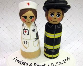Wedding Cake Topper / Custom Painted Wood Peg Dolls with Plaque/ Fireman / Nurse