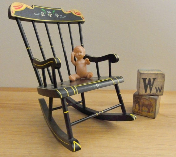 Items similar to Vintage Rocking Chair Miniature Doll Size on Etsy