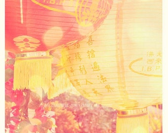 as seen on Modern Family, Chinese New Year, red lanterns, asian decor festival, yellow, spring decor, paper lanterns photograph, art print