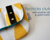Yellow Ikat clutch with leather