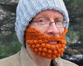 Beard for a Beanie Hat, Adult Medium, Orange