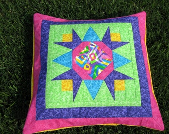 Decorative Throw Pillow Sham Cover - Cotton Quilted Removable Cover - Modern Colorful Star Pillow with Pizzazz