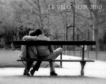 Paris, France, Love,Les amants, Two lovers at the park, 8 x 10 (MATTED to fit 11x14 frame)  fine art print