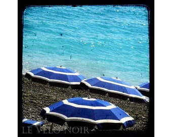 Seashore, Beach, Blue, Cote d'Azur, Nice, France, Unmatted 8x8 TTV-inspired Fine Art Print