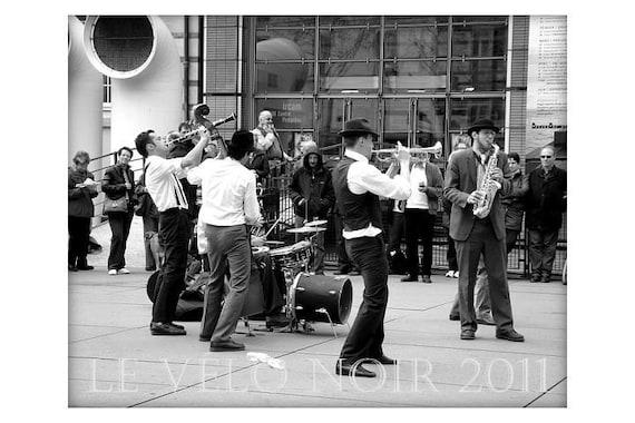 Street Musicians,Paris France, Jazz at the Pompidou,Unmatted 8x10 photograph
