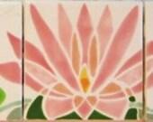Pink Persian Lotus Five Tiles
