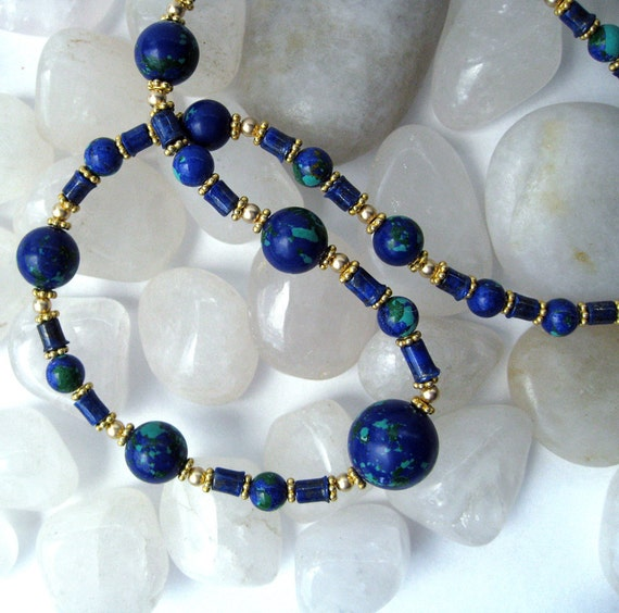 Tiny  Worlds Necklace: Blue Lapis, Azurite, and gold  --  Free U.S. shipping