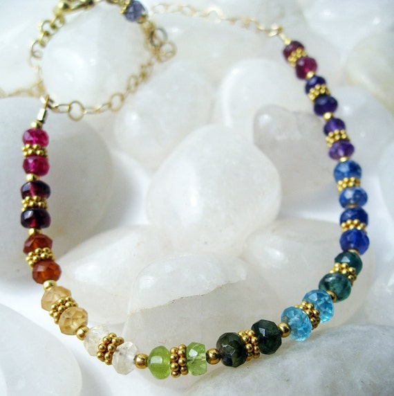 Genuine Multi-Gem and 24K Gold Vermeil Chakra Necklace