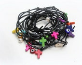 SALE RUBBER Cross BRACELETS - Set of 10 Black Rubber bracelets with cross gemstones and evil eyes - ManniaTitta