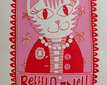 Betty Purrwell Screenprint -- Limited Edition
