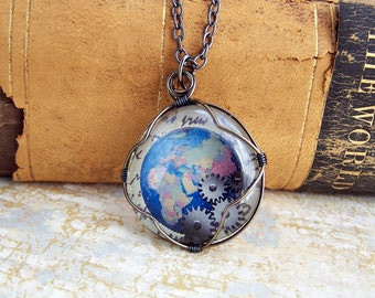 Steampunk Globe Pendant - Blue Earth Necklace with Gears - Steampunk Jewelry - Ready to Ship