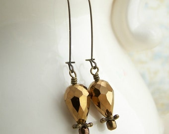 Bronze Hot Air Balloon Earrings in a Steampunk Style with Faceted Cut Glass Beads