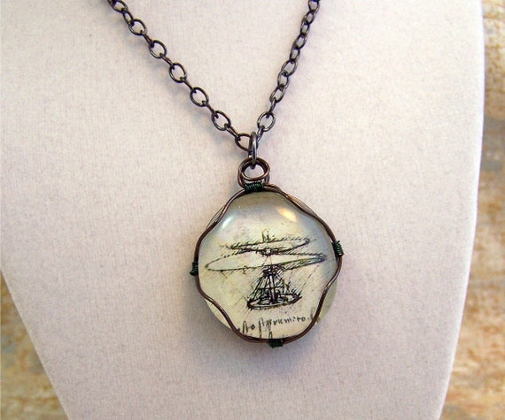 Leonardo Da Vinci Helicopter Pendant Necklace - wire wrapped glass cabochon - made to order - unisex