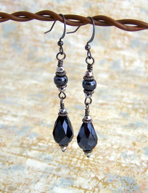 New Year's Eve Earrings of Silver and Black Hematite colored beads - Hypoallergenic Niobium ear wire option