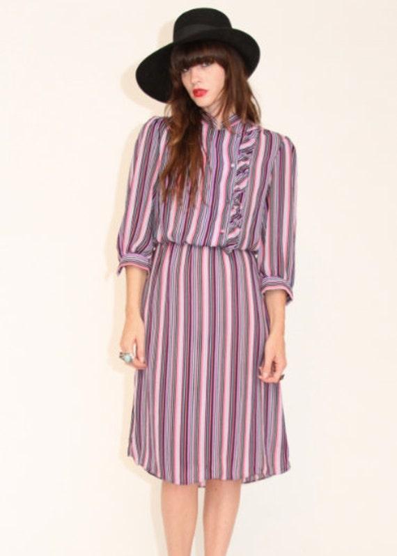 SALE 70s striped secretary dress with ruffle
