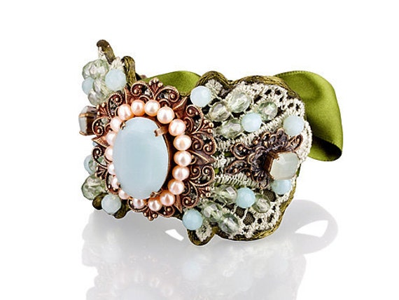 Christmas Bracelets,Green Lace  Jewelry,crochet ,Victorian,Free Shipping, Vintage Inspired Jewelry,Romantic ,Statement bracelet- BG00803