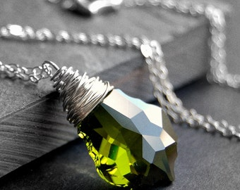 Olive Green Crystal Necklace, Olivine Swarovski Crystal Wire Wrapped Baroque Pendant, Sterling Silver Chain, Mossy, Forest