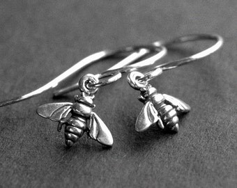 Tiny Sterling Silver Honeybee Earrings, Silver Bee Charms, Handmade Sterling Silver Earwires, Nature Jewelry