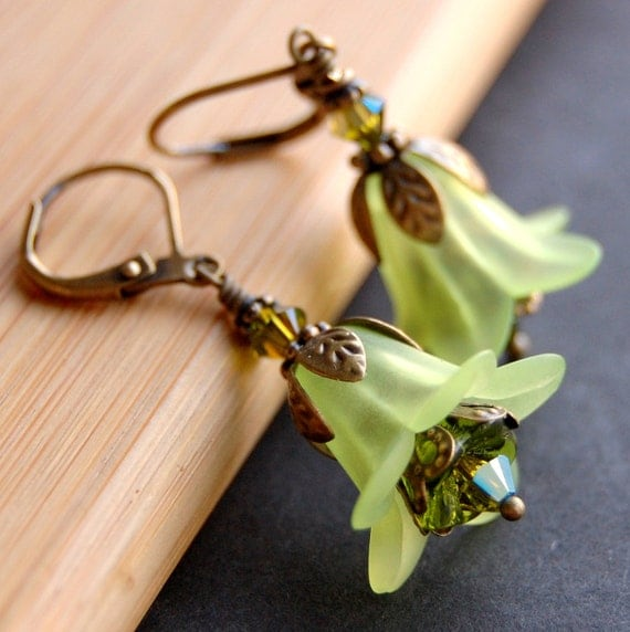 Green Lucite Flower Earrings, Vintage Style, Lime Lily Flowers, Olivine Czech Glass Flowers, Antique Brass Leverback, and Swarovski Crystal