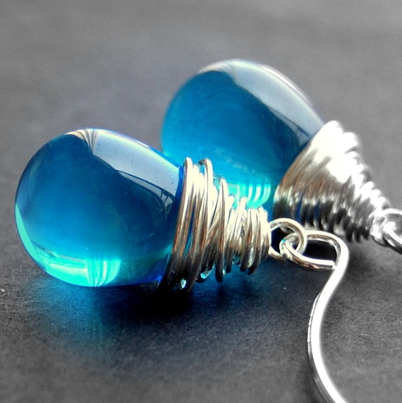 Blue Glass Earrings, Wire Wrapped Glass Teardrop, Aqua Smooth Czech Glass, Sterling Silver Earwires