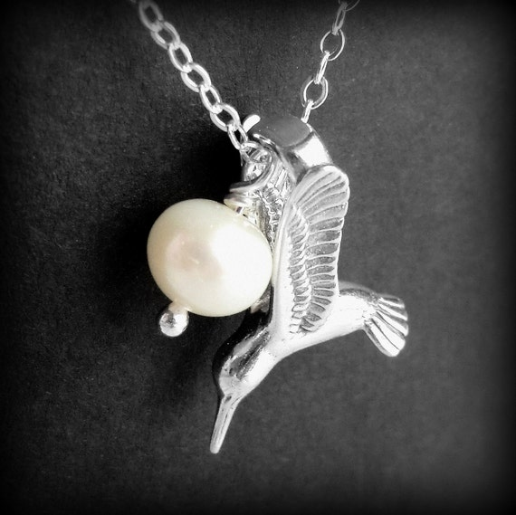 Mockingjay Necklace Inspired by The Hunger Games, Hunger Games Necklace,  Pearl and Sterling Silver Pendant, Sterling Silver Cable Chain