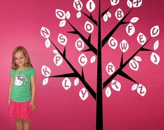 Wall Decals ALPHABET TREE Large vinyl art stickers decor by Decals Murals