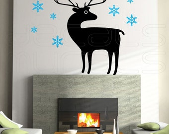Wall Decals REINDEER with SNOWFLAKES Holidays Christmas wall decor by Decals Murals